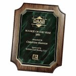 Genuine Walnut Notched Corner Plaque with Marble Mist Achievement Awards
