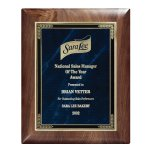 Genuine Walnut Elliptical Plaque with Marble Mist Achievement Awards