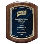 Genuine Walnut Barrel-Shaped Plaque with Marble Mist Employee Awards