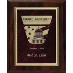 Red Marble Florentine Plate on Walnut Finish Board Employee Awards