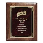 Genuine Walnut Elliptical Plaque with Marble Mist Employee Awards