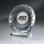 Round Crystal Plate with Crystal Stand Employee Awards