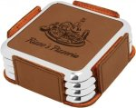 Leatherette Square Coaster Set with Silver Edge -Dark Brown Employee Awards